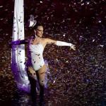 Trapeze performer in confetti