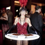 "Red Gatsby themed ""Light Bites"" canapés waitress"