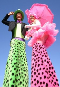 "Colourful interactive stilt walkers ""Bertie & Miss Pink"""