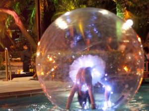 Illuminated Dreamsphere Bubble on pool